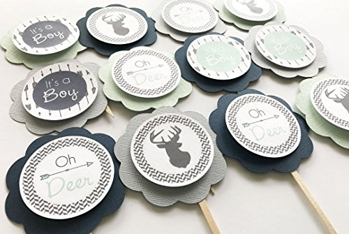 Light Gray, Navy Blue, Mint Green Woodland Oh Deer Baby Shower Cupcake Toppers, Its A Boy Baby Shower Decorations