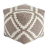 Ashley Geometric Cube Pouf in Gray