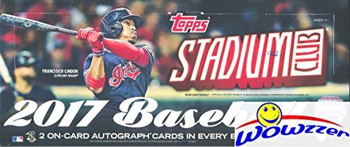 (2017 Topps Stadium Club Baseball Factory Sealed HOBBY Box with TWO(2) AUTOGRAPHS & (16) INSERTS/PARALLELS! Look for Rookies & Autographs of Aaron Judge, Andrew Benintendi & Many More! WOWZZER!)