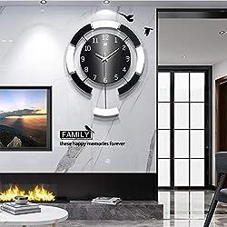 GQYS Creative Rround Wall Clock with Pendulum, Silent Quartz Decorative Round Metal Wall Watches Clock Modern 3D Digital Pendulum Clocks for Living Room, Bedroom, Office Decor,20x24inch