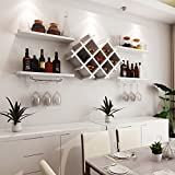 Custpromo Set of 5 Wall Mount Wine Rack Set Bottle & Glass Holder w/Storage Shelves, Home & Kitchen Décor (White)