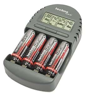 TechnoTrade BC 450 - Cargador de pilas (pantalla LCD, función de descarga), gris