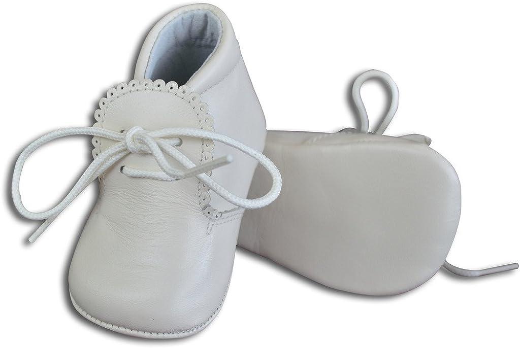 Baby Boys Leather Soft Sole Shoes w/Laces - White, Size 16 EU/1 US Infant