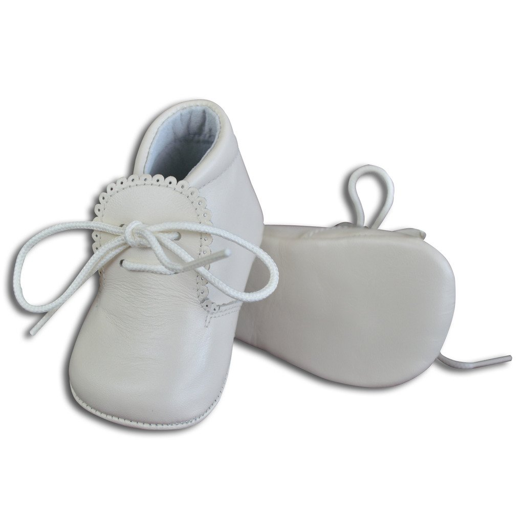 Baby Boys Leather Soft Sole Shoes w/Laces - White, Size 16 EU/1 US Infant by Carriage Boutique