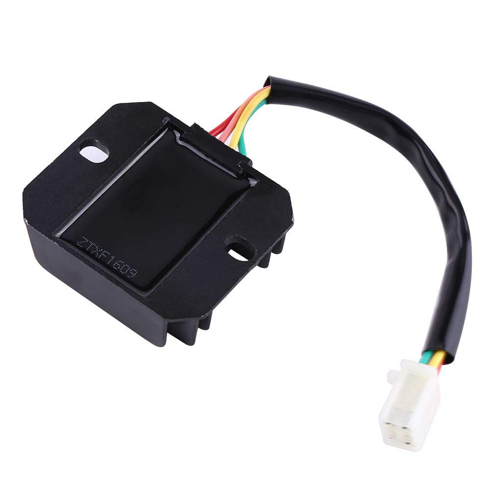 Black Motorcycle Voltage Regulator 4 Wires 4 Pins 12 Voltage Regulator Rectifier for 150-250CC Motorcycle Scooter Moped ATV