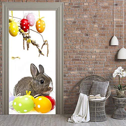 Happy Easter Peel - Easter Bunny Door Mural, Happy Easter Peel and Stick Door Decal, Holiday Removable Door Skin, Front Door, Bedroom Decor ND71