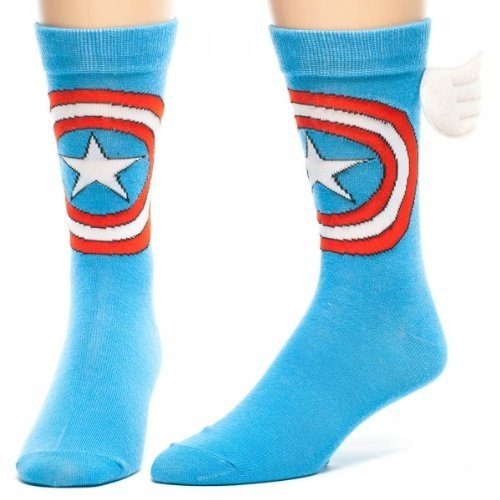 Bioworld Captain America w/ Wings Crew Socks Blue,  sock size is 10-13 and fits show size 6-12