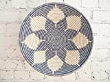 16'' X-Large African Basket- Naivasha / Rwanda Basket / Woven Bowl / Sisal & Sweetgrass Basket / Blue-Gray, White