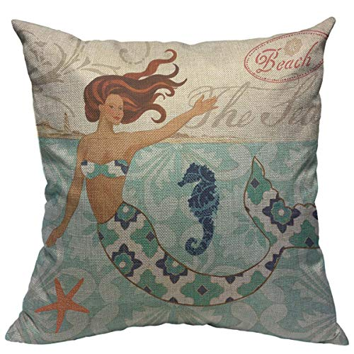 "oFloral Mermaid Pillow Case Mediterranean Sea Animal Theme Throw Pillow Cover Cotton Linen Pillowcase Square Cushion Cover Home Sofa Bedroom Decorative 18""X18"" Pillow Shams Blue Yellow Brown"