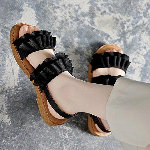 Sandals ZHIRONG Summer Women's Low-heeled Non-slip Beach Shoes Roman Shoes Student Shoes (Color : Beige, Size : EU37/UK4.5-5/CN37) Black