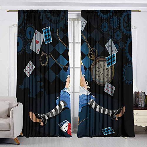 XXANS Rod Pocket Window Curtain Panel,Alice in Wonderland,Waterproof Patio Door Panel,W108x96L Inches,Multicolor -