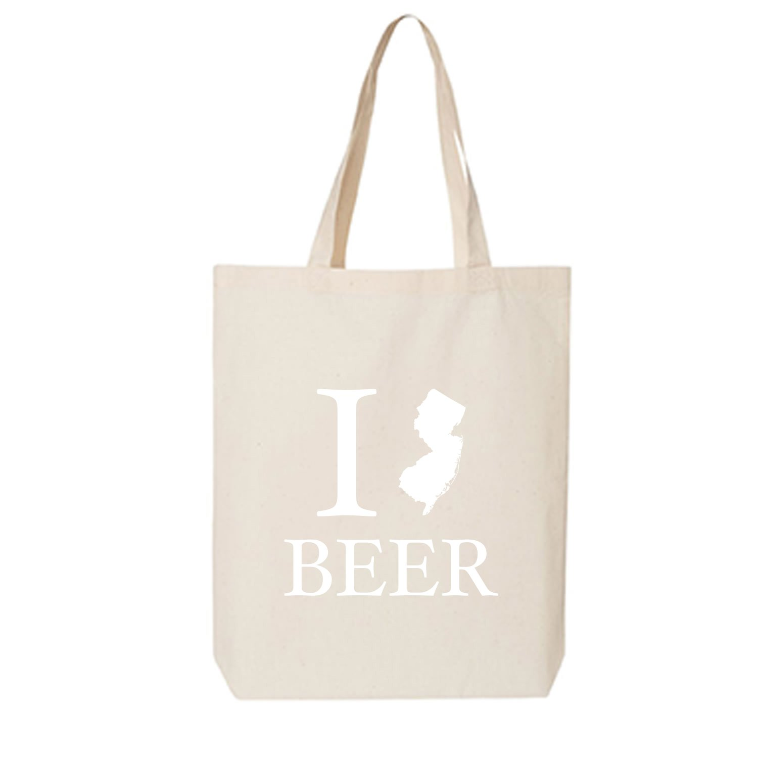 I Love New Jersey Beer Cotton Canvas Tote Bag in Natural - One Size