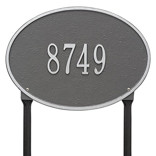 Whitehall Products Oval Pewter/Silver Hawthorne Standard Lawn One Line Address Plaque
