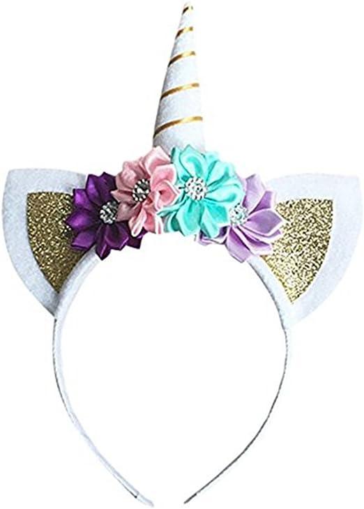 Hihamer unicornio diadema elástica Headband cuerno brillante hecho ...