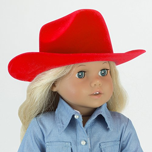 Sophias Red Cowgirl Doll Hat for the 18 Inch Horse Riding American Girl & More! 18 Inch Red Velvet Cowgirl Doll Hat w/ Decorative Rope on Brim