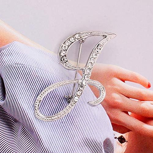 1PC Cristal 26 Lettres Anglaises Broche Couple Couple Souvenir Bijoux Amour Cadeaux 26 lettres anglaises avec broche en diamant RYTEJFES(Lettre anglaise L、Argent)