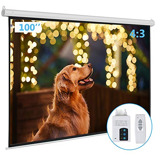 - Kshioe Motorized Projector Screen with Remote Control, No Wrinkles, Without Dents, HD Screen, for Home Theater Office Classroom TV Usage (100inch 4:3)