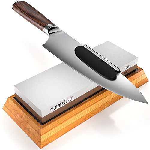 Gilded Chef - Sharpening Stone Set and Whetstone Sharpener - 400/1000 Grit Waterstone Kit - Sharp Tools are Better - Best for Repairing Kitchen Knife, Tactical Knife, Scissors, Razor, Chisel & Sword