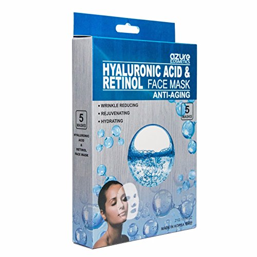 Azure Anti-Aging Korean Facial Mask Sheet - Moisture Binding Ingredients Keep Your Skin Soft and Hydrated | Reduces Fine Lines and Wrinkles | Made With Hyaluronic Acid and Pure Retinol - 5 Pack