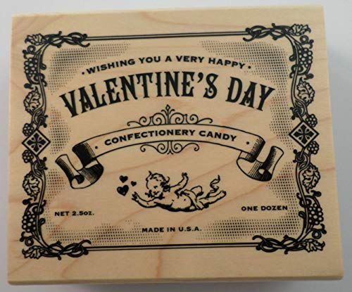 ShopForAllYou Stamping & Embossing Happy Valentine's Day Vintage Candy Wrapper Wooden Rubber Stamp