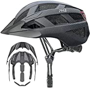 PHZ Adult Bike Helmet with Rechargeable Led Back Light/Two Detachable Visor Ideal for Road Ride Mountain Bike