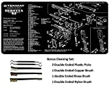 TekMat 11-Inch X 17-Inch Handgun Cleaning Mat with Various Imprint, Black Bonus 5 oc Gun Cleaning Brush & Pick Set (11