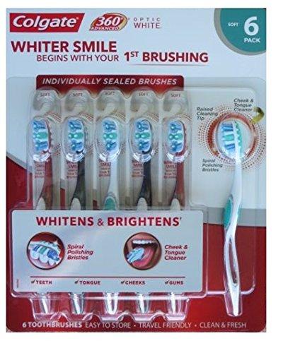 Colgate 360 Advanced Optic White Toothbrush Spiral Polishing Bristles – Soft (6 Count)