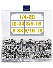 110 Pieces Stainless Steel Rivet Nuts 8-32 10-24 1/4-20 5/16-18 3/8-16 Rivnuts Threaded Rivet Insert Nuts Nutsert Assortment Kit