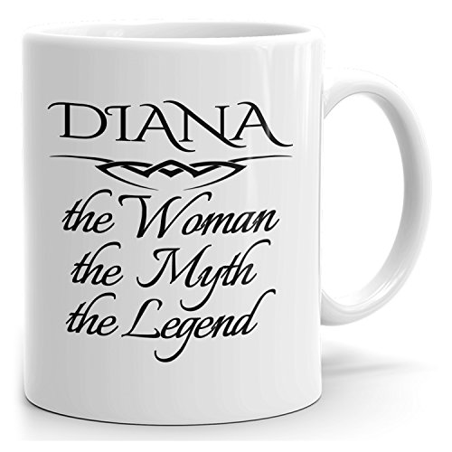 MugMax The Woman the Myth the Legend D1 Ceramic Coffee Mug Personlized Diana White 15 oz