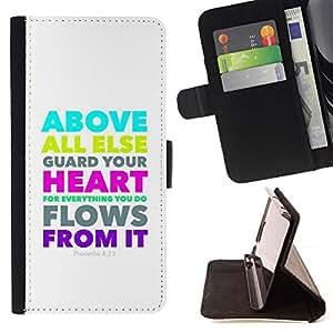 BullDog Case - FOR/HTC One M9 / - / PROVERBS 4:23 ABOVE ALL ELSE GUARD YOUR HEART /- Monedero de cuero de la PU Llevar cubierta de la caja con el ID Credit Card Slots Flip funda de cuer