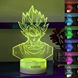 AXAYINC 3D Night Light LED Illusion Desk Table Lamp 7 Colors Change USB Cable Touch Button Christmas Birthday Gift Kids Toy (WUKONG1)