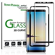 Galaxy Note 8 Screen Protector Glass (Full Screen Coverage)(Easy Installation Tray), amFilm Dot Matrix 3D Curved Samsung Galaxy Note 8 Tempered Glass Screen Protector 2017¡­