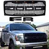 Front Grille Fits 2009-2014 FORD F150 Raptor Style Grill Kits With Amber LED Light and F&R Letter (Black)