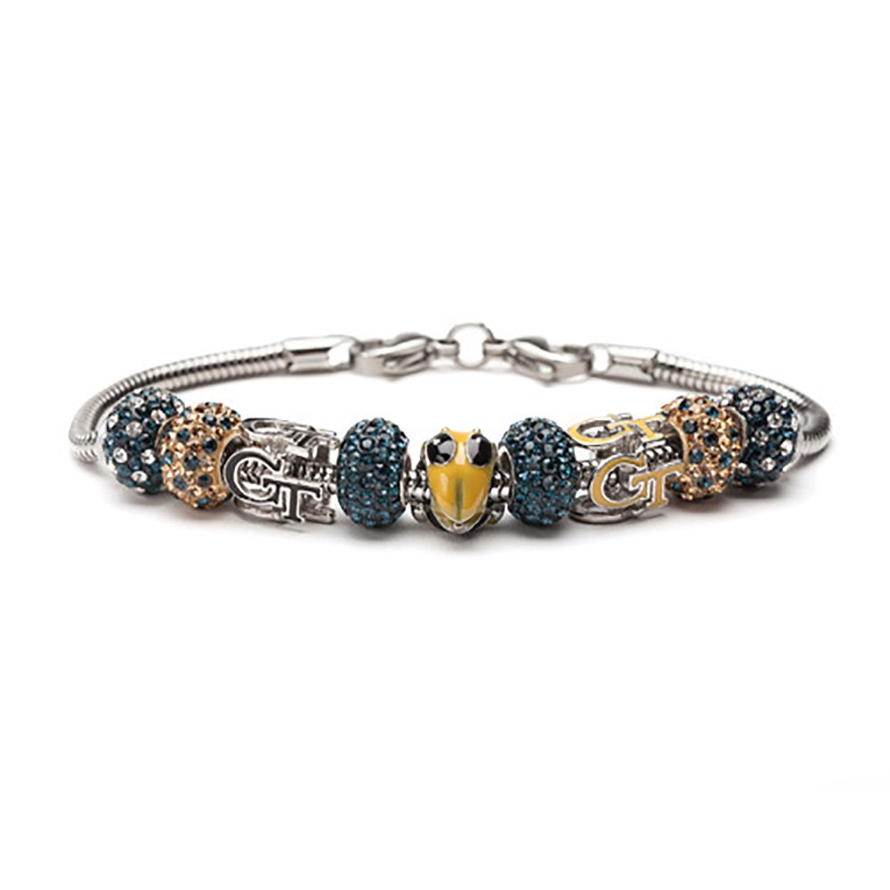 Georgia Tech Bracelet | GT Yellow Jackets - 3 Georgia Tech Beads with 6 Cyrstal Charms | Officially Licensed Georgia Tech Jewelry | GT Gifts | Georgia Tech Charms | GT Charms | Stainless Steel by Stone Armory