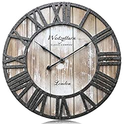 Westzytturm Wood Clock 18 inches Large Wooden Wall Clock Rustic Decorative Farmhouse Battery Operated Non Ticking Silent Sweep Antique Big Clocks for Living Room Bedrooms Home Kitchen Office(Pink)