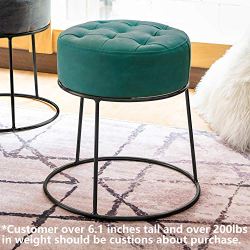 - Art-Leon Stackable Stool Footstool Faux Leather Pouf Foot Rest for Living Room, Vanity, Dorm, Apartment, (Bluish Green)