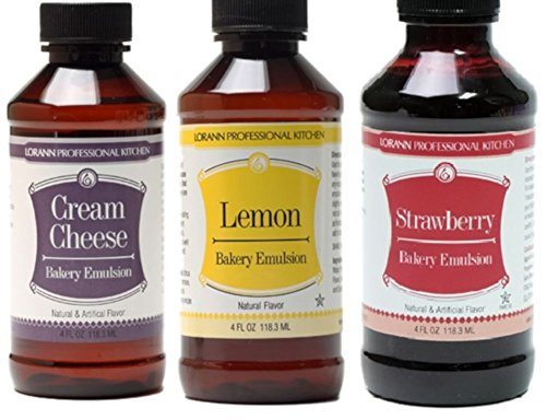 LorAnn Oils Gourmet Bakery Emulsion Cream Cheese, Lemon, and Strawberry Bundle 4 Ounce Bottles (Pack of 3) -