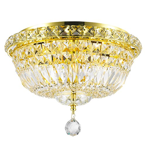 Worldwide Lighting Empire Collection 4 Light Gold Finish and Clear Crystal Flush Mount Ceiling Light 14