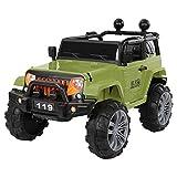 Kids Electric car 24v Off-Road Truck Manned Children Ride-On Car with LED Light, Power Wheels Trucks Toys for Boys Girls (Green)