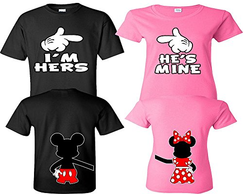 (I'm Hers He's Mine Couple Shirts, Matching Couple Shirts, Disney His and Her Shirts Black - Pink Man XL - Woman)