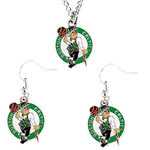 Boston Celtics Necklace and Dangle Earring Charm Set NBA (Charm Womens Celtic)