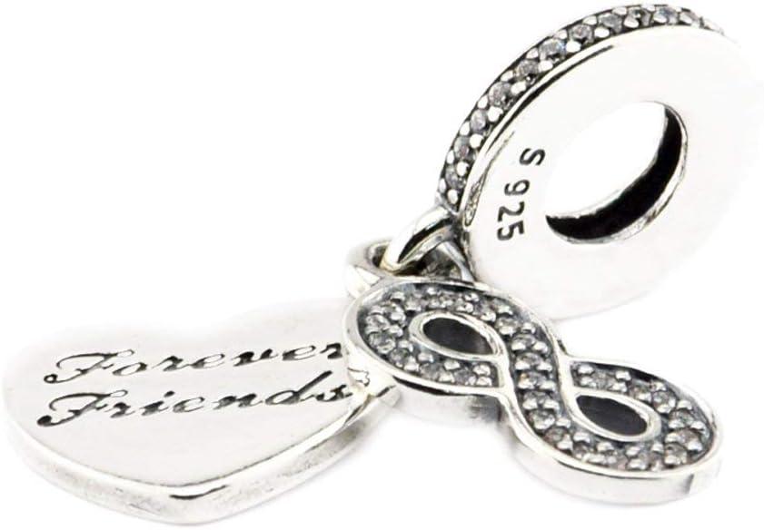Ciondolo in argento Sterling 925 con zirconia cubica e incisione in inglese Forever Friends Cooltaste per bracciali e gioielli fai da te