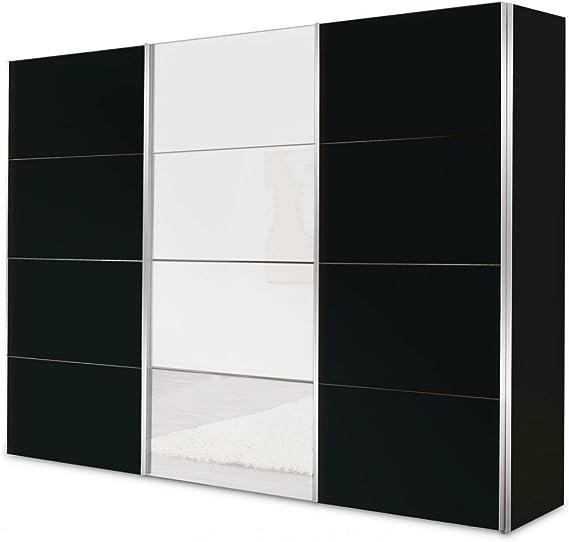 Unbekannt – Armario ropero de Puertas correderas Negro con Espejo 300 cm Franco 5: Amazon.es: Hogar