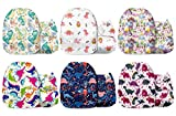 Mama Koala One Size Baby Washable Reusable Pocket Cloth Diapers, 6 Pack with 6 One Size Microfiber Inserts (Dino Roar)