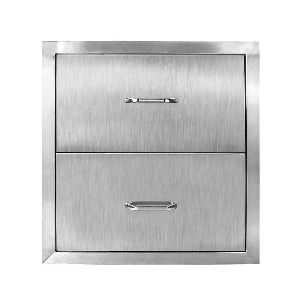 Seeutek Outdoor Kitchen Drawer 304 Stainless Steel 14'' W x 14.38'' H Double Layer Access Drawer Construction Flush Mount BBQ Island Drawer Storage with Chrome Handle Black Double-Track Access Drawer