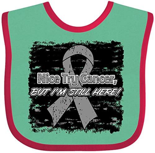 Inktastic Nice Try Brain Cancer Baby Bib Green and Red