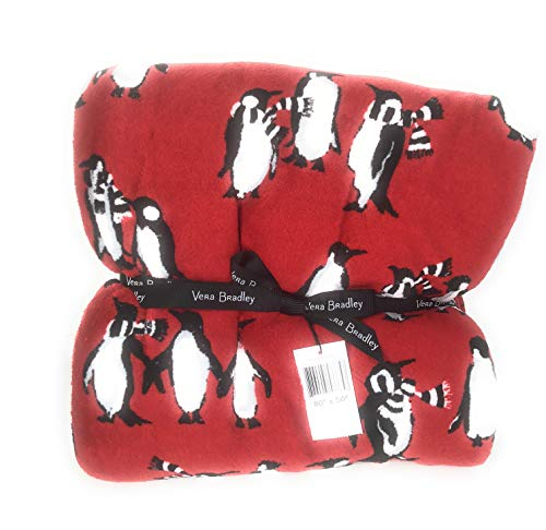 Vera Bradley Large Throw Blanket Playful Penguins Red 80 x 50