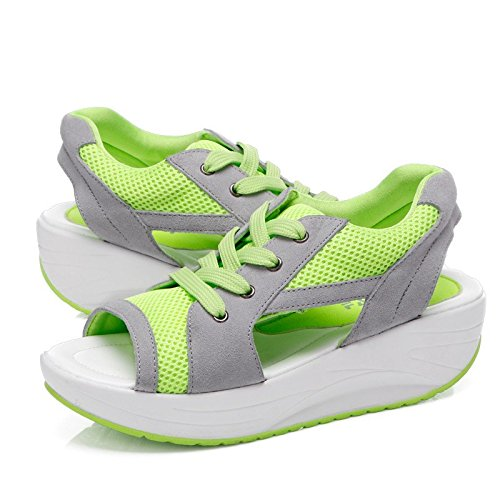 Annabelz Mujer Sport Sandals Summer Plateform Toning Fitness Sandalias Zapatos Para Caminar Verde