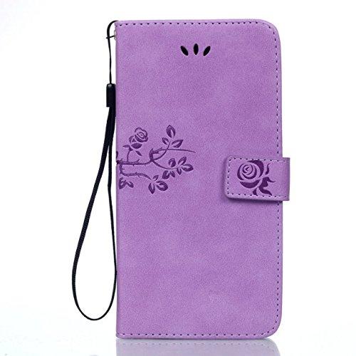 JIALUN-Personality teléfono shell Samsung NOTA 5, Funda de cuero de la PU Folio Monedero Shell con ranuras para tarjetas en efectivo Cierre magnético Patrón de flores en relieve Funda de la caja para  Purple
