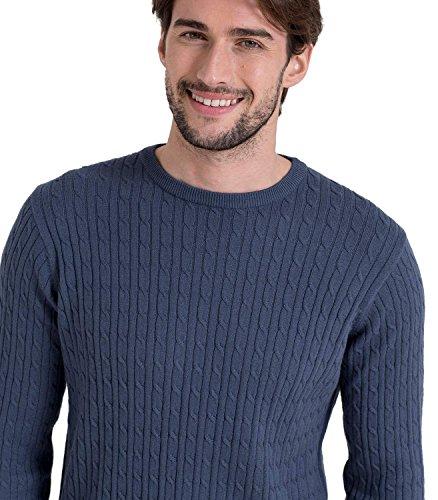 WoolOvers Pullover mit Rundhalsausschnitt und Zopfmuster aus Baumwolle-Kaschmirwolle für Herren French Navy, M